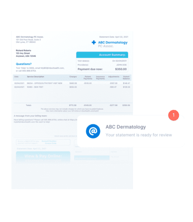 paper bill with email notification