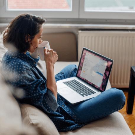 woman viewing e-statement